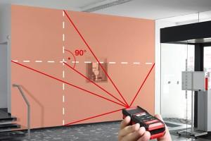 Der Laser-Entfernungsmesser ermöglicht eine Messung vom Boden aus.