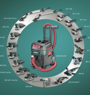 Das Absauggerät ASR 35 M ACP wird von der deutschen Berufsgenossenschaft BG Bau empfohlen und bietet in Kombination mit Elektrowerkzeugen und Zubehör von Metabo optimal abgestimmte Systemlösungen für zahlreiche Anwendungen im Bauhandwerk und bei der Renovierung. Foto: Metabo
