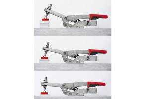 Bei den variablen Schnellspannern STC passt sich die Spannweite an unterschiedliche Werkstückhöhen- oder breiten an – ohne manuelle Einstellung der Druckschraube und bei nahezu gleichbleibender Spannkraft.