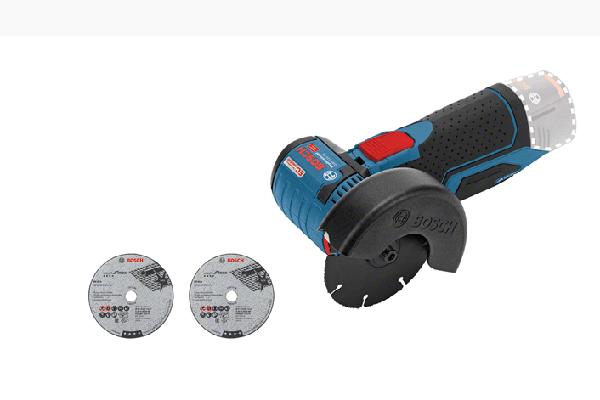 Bosch 12-Volt Winkelschleifer GWS 12V-76 Professional. Gewicht: 0,9 kg. Scheibendurchmesser: 76 mm.