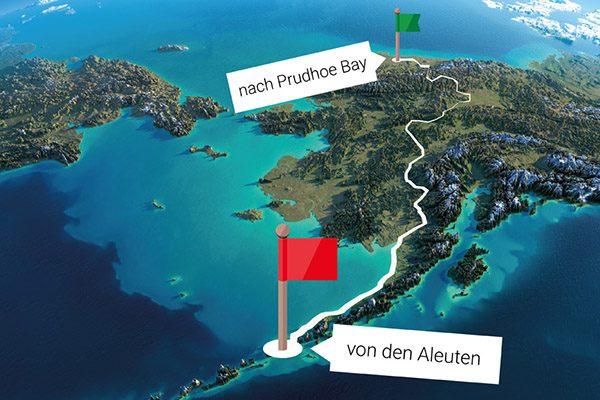 Die Route führt 4000 Kilometer durch Alaska – abseits von Straßen oder Wegen und durch sehr unwegsames Gelände.