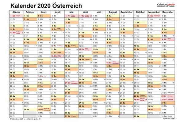 Kalender_Österreich_2020