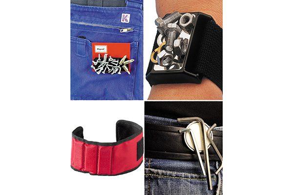 Mobile Kleinteilehalter für Latzhose, Gürtel, Handgelenk oder Oberarm lassen Monteure zu Magnetos mutieren.
