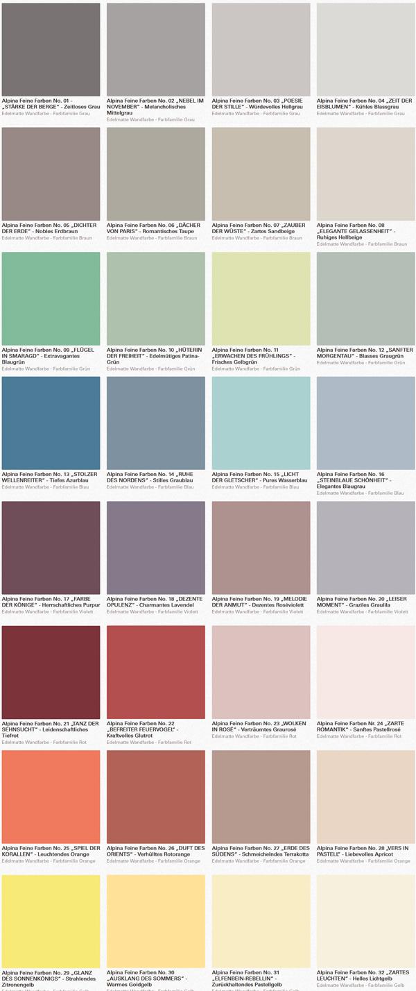 Wandfarbe Alpina Kollektion Feine Farben
