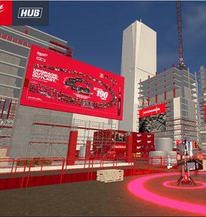 Setzt als virtuell begehbarer Erlebnisraum neue Maßstäbe in digitaler Konferenz- und Ausstellungstechnik – der Milwaukee-HUB zur Fachhändler-Konferenz 2021.