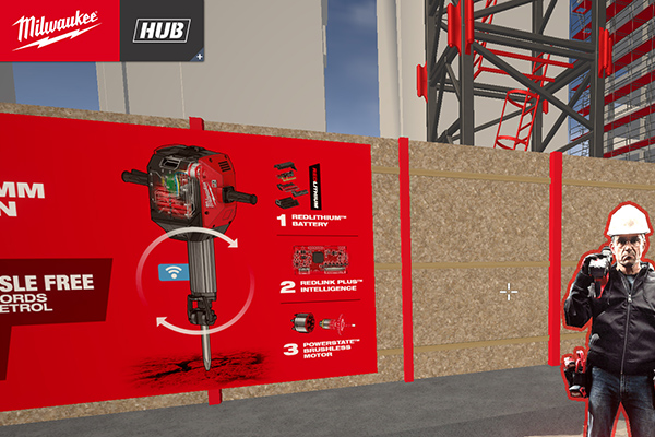 Anwender können im HUB über eine virtuelle Großbaustelle navigieren oder direkt über die Mediathek auf alle verfügbaren Informationen zugreifen.